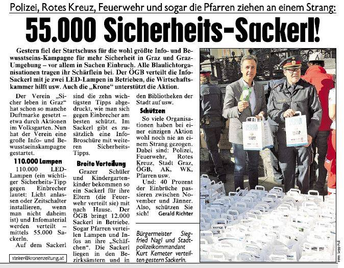 Kronen Zeitung, Sicher Leben in Graz, Sicherheits-Sackerl