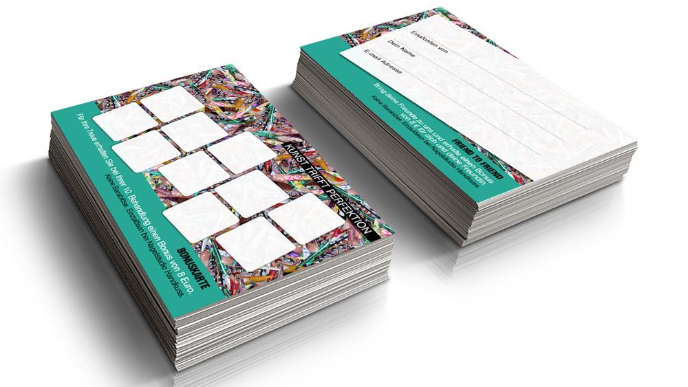 Kartendesign Handkuss, Visitenkarten