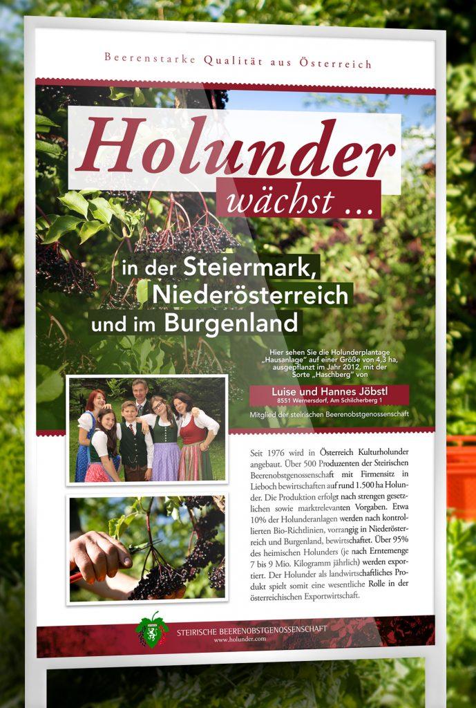 Holunder wächst - Tafel für die Schilcherei Jöbstl in Wernersdorf