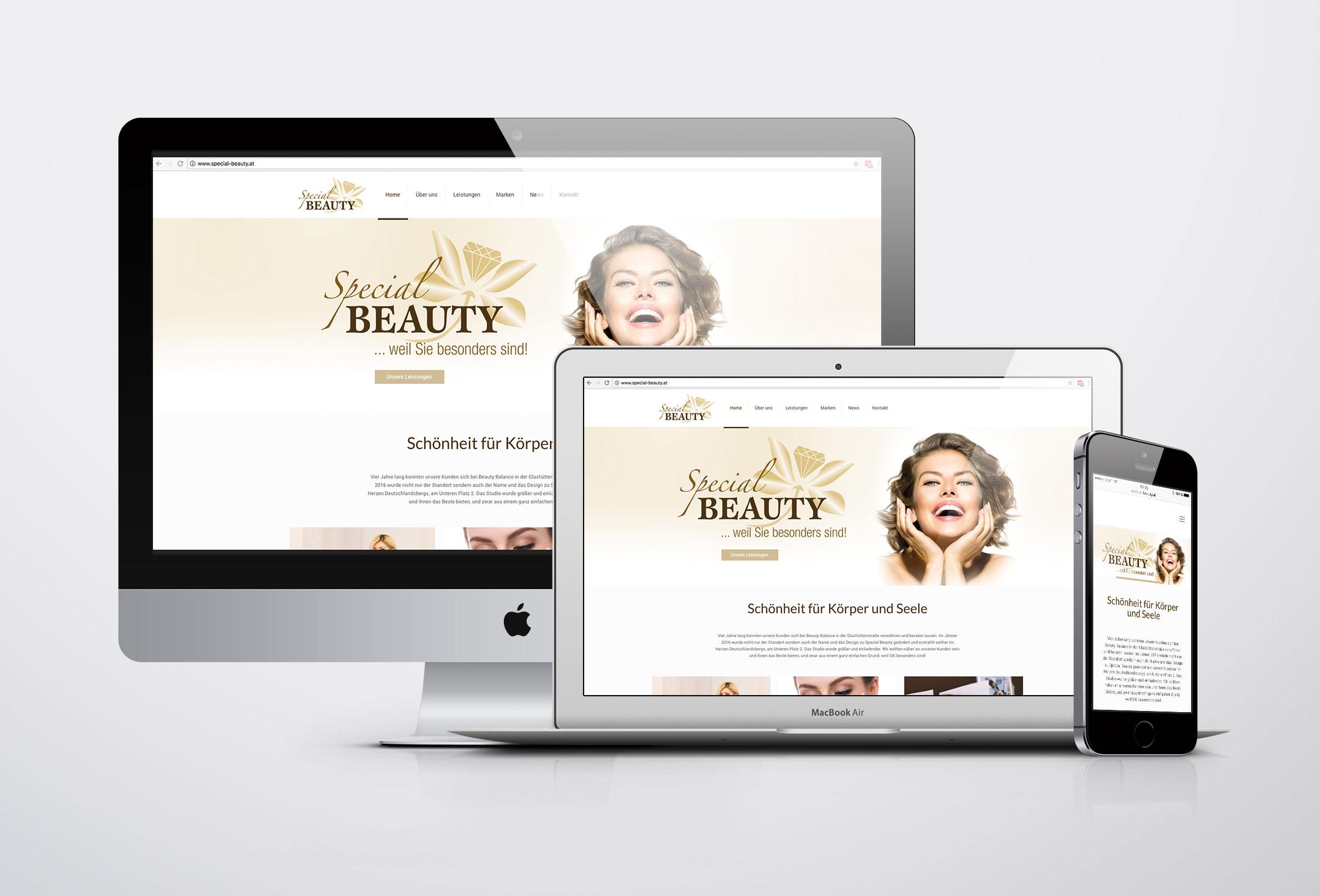 Website, Kosmetikstudio