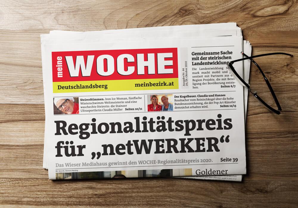Zeitungs-Titelseite: netWERKER Mediahaus gewinnt Woche Regionalitätspreis